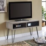 Simple Wood And Metal TV Stand With Two Shelfs Part In Room With White Tile And Brown Rug
