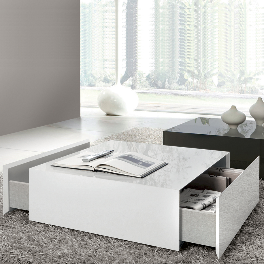 Simple And Minimalist White Coffee Table With Sliding Drawers