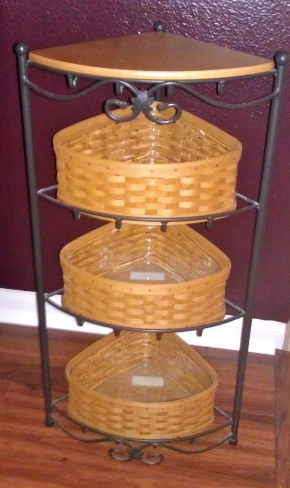 Simple classic corner wrought iron shelves with additional dried root boxes storage & Wrought Iron Corner Shelf Ideas | HomesFeed