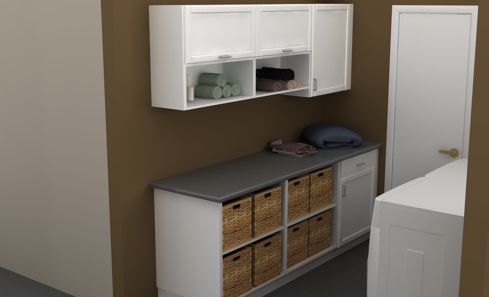 Simple White Cabinet System For A Modern Laundry Room