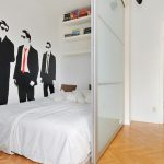 Simple white temporary room separator for bedroom