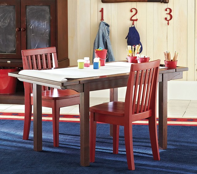 Simple Wood Craft Table With A Paper Roller A Pair Of Red Painted Wooden  Chairs Large
