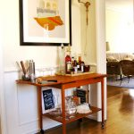 Simple wooden bar cart with wheels