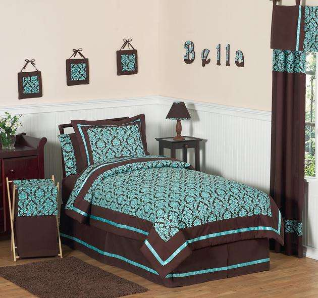 Teal and brown bedding product selections homesfeed for Chocolate and teal bedroom ideas