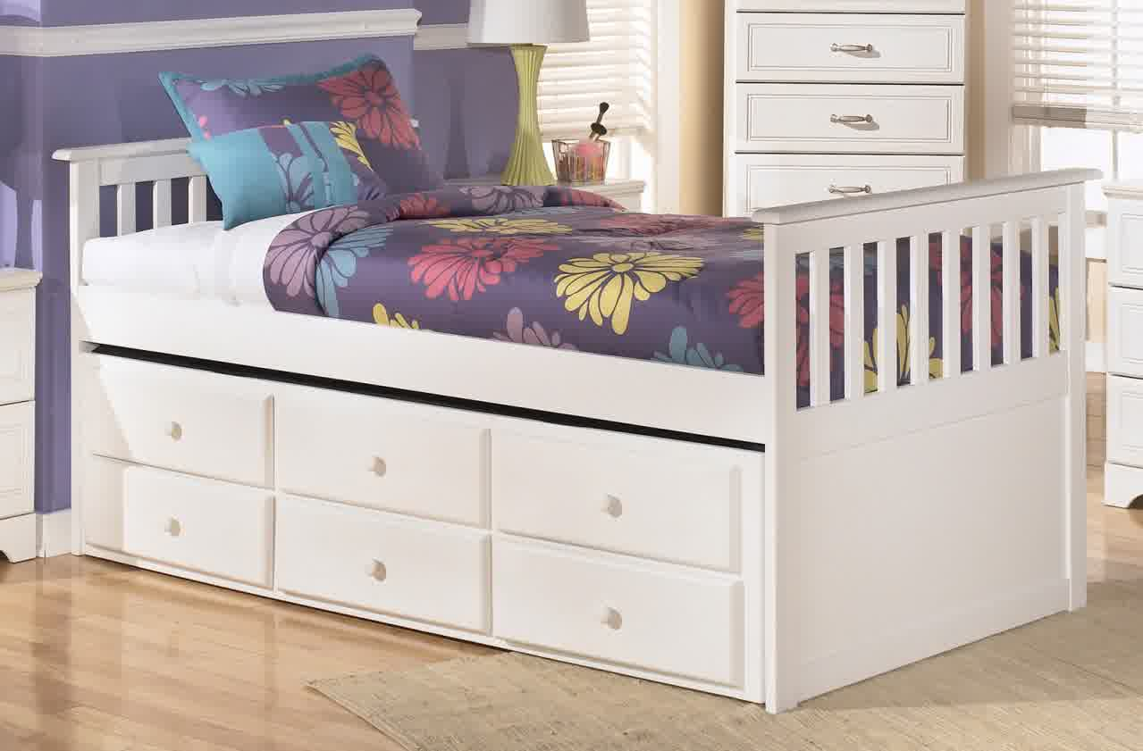 single trundle with storage headboard and footboard in white - Wooden Trundle Bed Frame