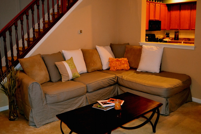 Slipcover idea for sectional with single chaise with a lot of throw pillows black coffee table : chaise sectional slipcover - Sectionals, Sofas & Couches