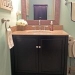 Small And Simple Pegasus Vanity Tops With Two Doors Cabinet And Big Square Mirror Towel Hanger