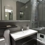 Small Bathroom Design For Modern Style With Square Sink Shower Room And Big Mirror