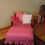Small Bed Pink And White Pillows Stylish Carpet On Wood Floor