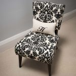Small Damask Accent Chair With White Pillow