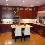 Small Kitchen Design With Wooden Kitchen Set And White Kitchen TAble Chairs