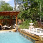 Small Landscaping Pool With Gazebo Furniture And Waterfall