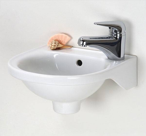 High Quality Small And Deep White Sink With Stainless Steel Faucet Mounted On Wall