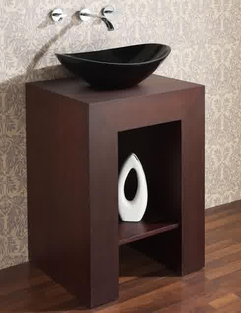 Small black vessel sink with mounted faucet and small bathroom vanity