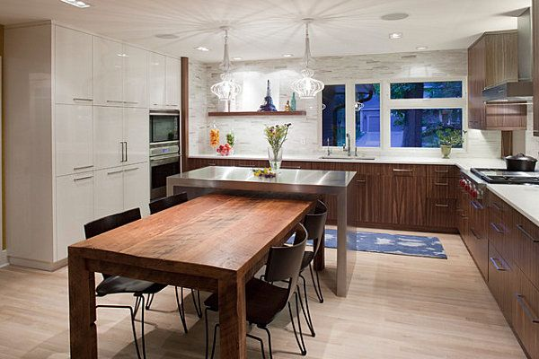 Small Kitchen Island Wood Table Combination With Black Dining Chairs L  Shaped Kitchen Counter With White