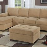 Small sectional furniture with single chaise in light brown color deep and light grey wool rug an ottoman as a table