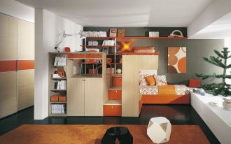 Smarter Multifunctional Furniture In Orange Bedroom Complete WIth Bed Desk Cabinet Shelf And Rug