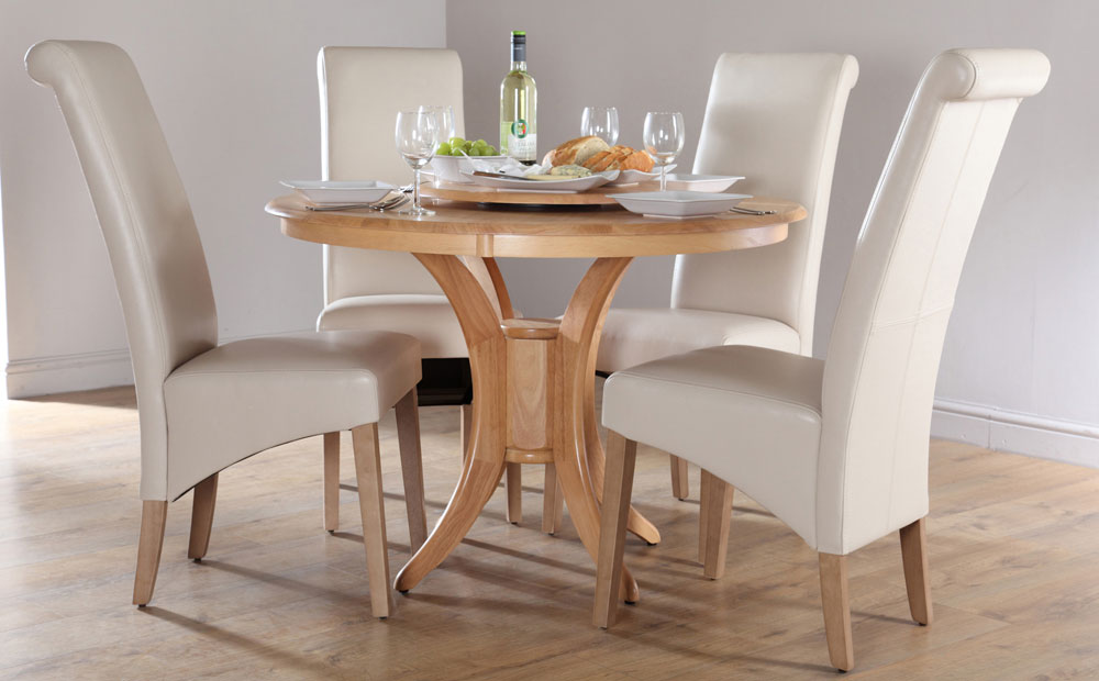 Attirant Solid Wood Round Dining Table For Four White Leather Dining Chairs