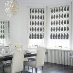 Sparkle Black Curtain Design For Dining Room With White Chairs And Long Wooden Table