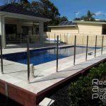 Square Big Pool Around Glass Fence