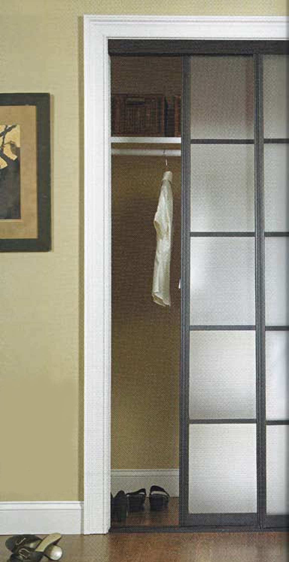 Square Design Closet Sliding Door With Brown Wall And Frame