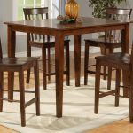 Square Dining Room Table With High Legs And 4 Chairs On Simple Rug Design