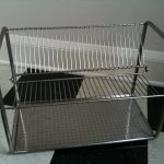 Square Dish Drying Rack On White And Black Tile Color