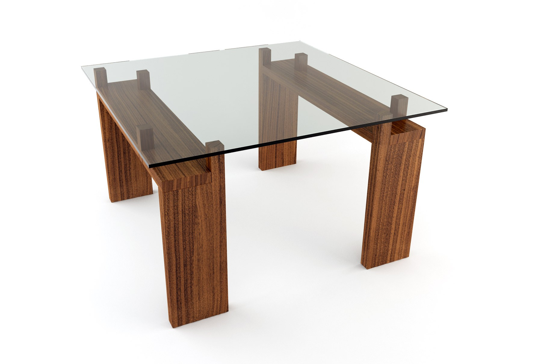 Square dining table for 4 homesfeed for Wooden glass dining table designs