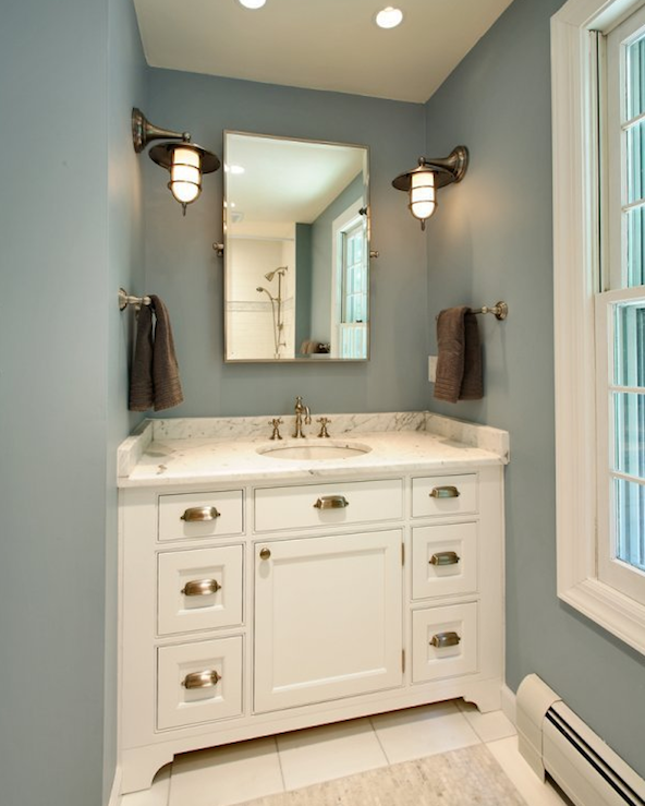 Gold Tone Vanity Lights : Brushed Nickel Bathroom Mirror as Sweet Wall Decoration HomesFeed