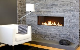 Stacked Wall With White Sofa And Stylish Standing Floor Lamp Living-room Corner Contemporary Ventless Gas Fireplace