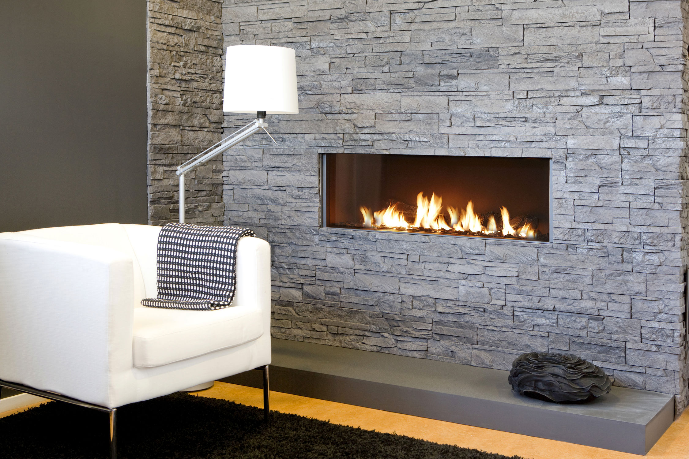 Superior Stacked Wall With White Sofa And Stylish Standing Floor Lamp Living Room  Corner Contemporary Ventless. TV Stand With Electric Fireplace ...