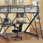 Steel Black Bunk Bed With Desk Below The Bed Black Chair And Cream Color On Rug