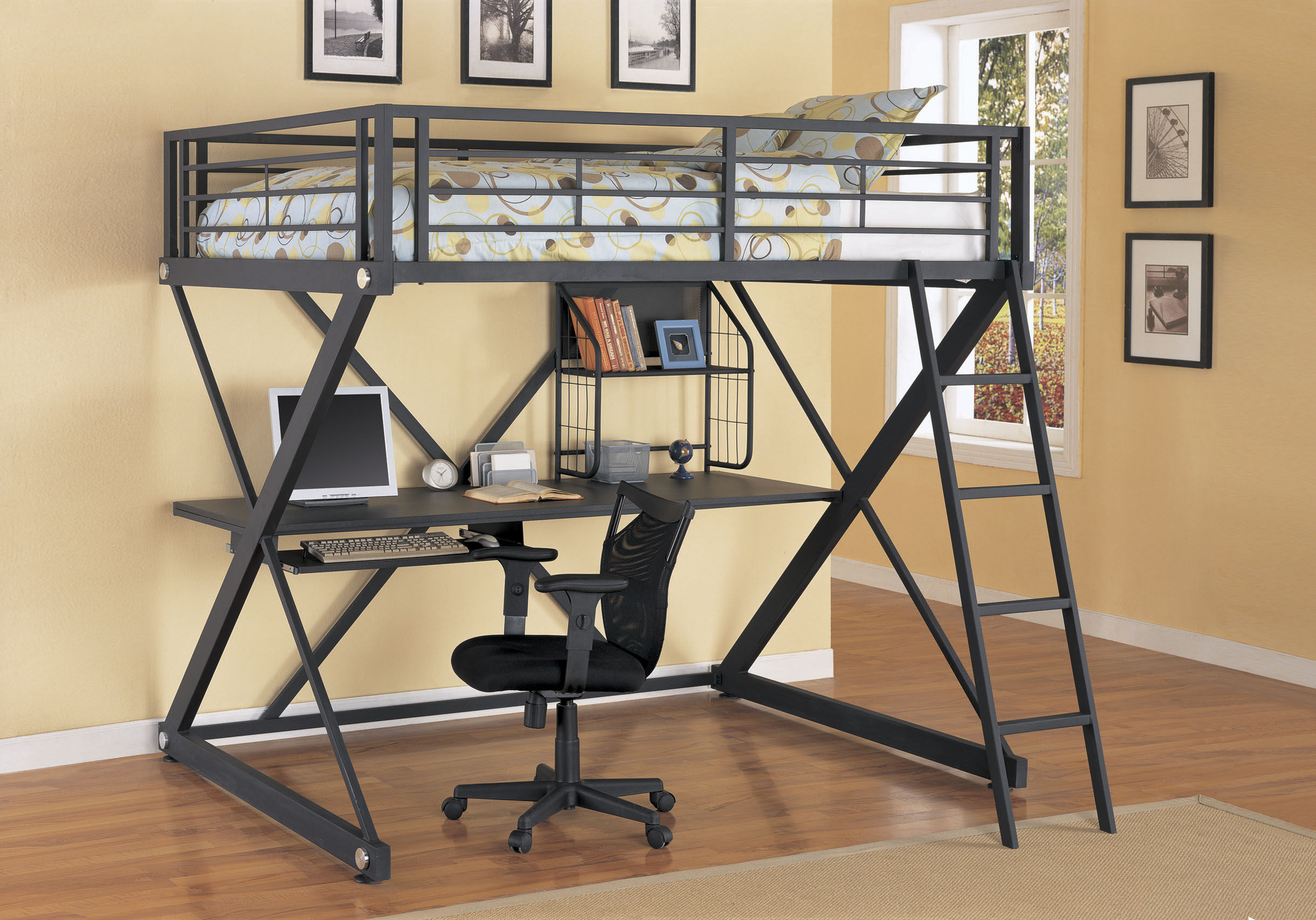 Bunk bed with desk for adults - Steel Black Bunk Bed With Desk Below The Bed Black Chair And Cream Color On Rug