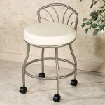 Steel Grey Rolling Vanity Stool