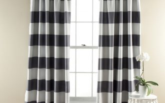 Stripe Blackout Curtain Panels With Stylish White Table Design And Its Flower Pot