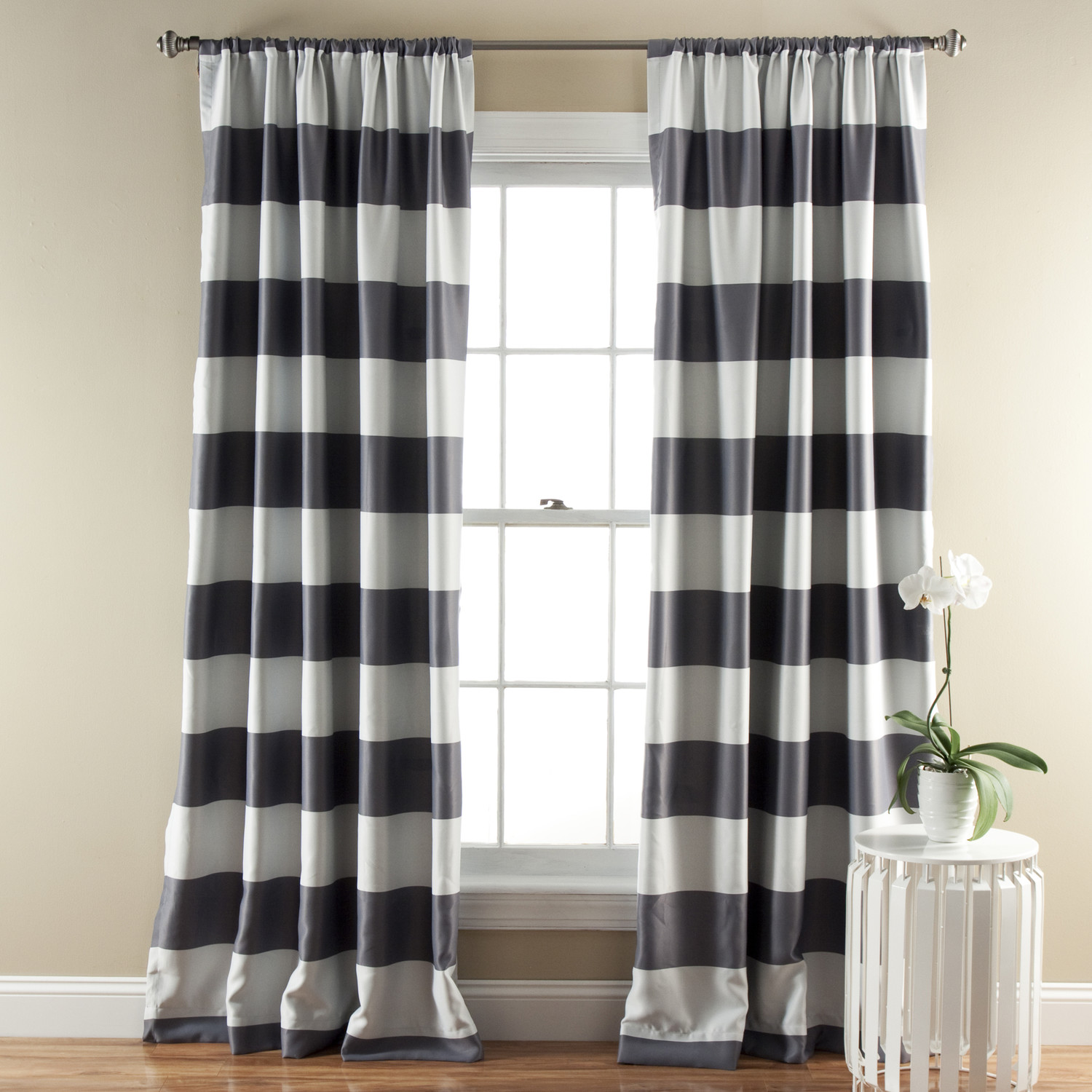 Stripe Blackout Curtain Panels With