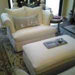 Super-Comfortable-and-Luxury-Bernhardt-Chair-and-One-Half-with -Ottoman-and-Newly-Reupholstered-in-White-Basketweave-Fabric-also-Castors-Oversized-Plus-of-the-ottoman