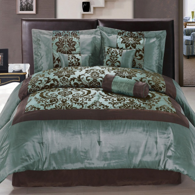 superking bed with black leather headboard glossy teal and brown duvet bedding idea with similar tone