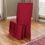 Sure-Fit-Cotton-Duck-Long-Dining-Room-Chair-Slipcover-in-claret-color-full-cotton-features-back-tie-closure-and-box-cushion-type