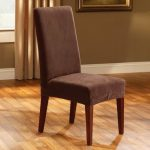 Sure-Fit-Stretch-Pique-Short-Dining-Chair-Slipcover-in-chocolate-with-Maximum-Seat-Back-Height-40-up-to-42-with-polyester-and-spandex