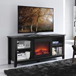 TV Stand With Electric Fireplace And Storage Place And Black Fur