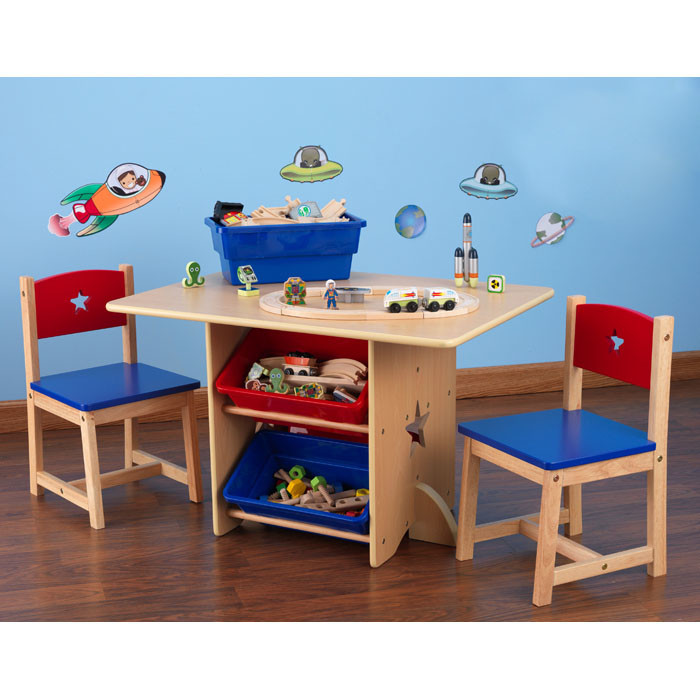 The-KidKraft-Star-Kid's-5-Piece-Table-&-Chair-Set-with-a-table-and-two-and-blue-lacquered-chairs-and-two-matching-storage-bins-with-solid-wooden-construction