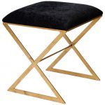 Tiny wooden x base stool with black seat