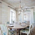 Traditional White Dining Room Rustic With Wooden Furniture And Classic Chandelier