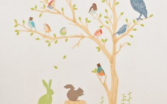 Tree-and-Birds-Wallpapers-on-the-white-wall-for-interior-design-in-living-room-or-kids-room-also-a-wooden-floor