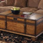 Trunk coffee table with a black decorative bowl and book