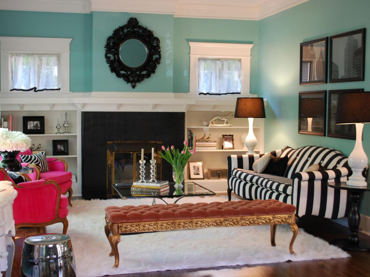 Turquoise Wall Living Room With Striped Black And WHite Sofa Near Fireplace  With Long Bench White