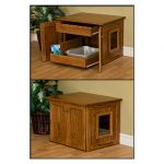 Two versions of cat litterbox enclosure with door and drawer