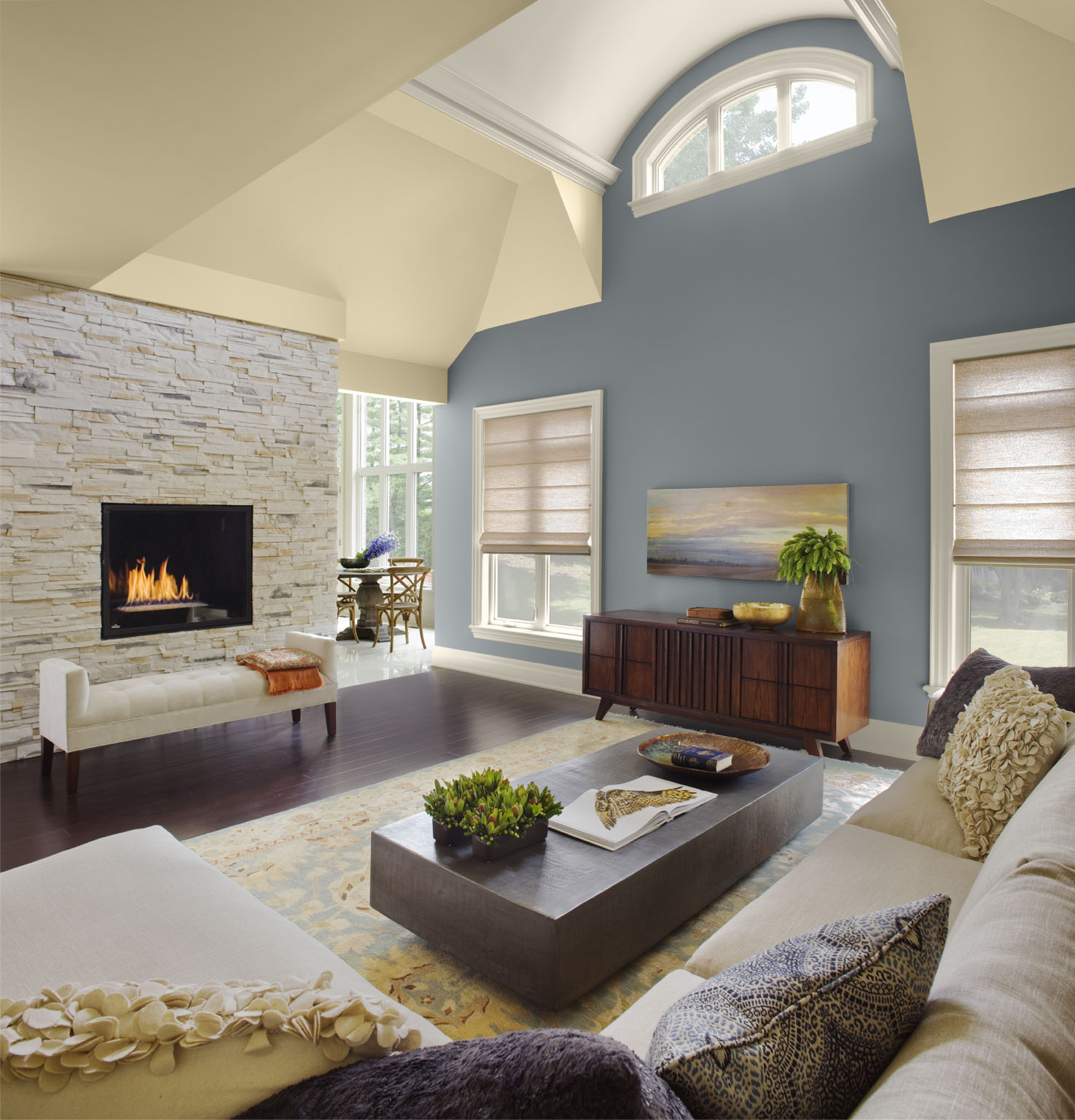 Vaulted Ceiling Design With High And Grey Wall Painting Rocks Combination Of Fireplace Warm Sofa