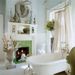 Victorian-Bathroom-Styles- With-victorian-lace-shower-curtain-and-clawfoot-and-Fireplace-near-water-closet-and-white-bathtub-and-flowers-on-the-white-pot